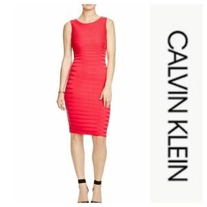 Red ribbed dress by Calvin Klein. Size 6